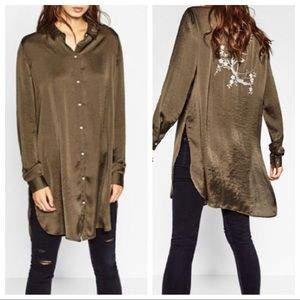Zara Silky Olive Embroidered Button Down Tunic